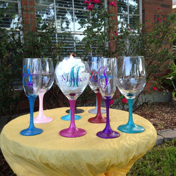 Personalized Glittered Stem Wine Glass