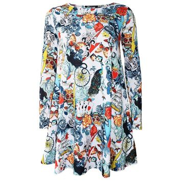 Fashion Casual 3D Skull Floral Printed Summer Women Dress Long Sleeve O-Neck Sexy Party Dresses Halloween Pumpkin Head Clothing