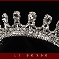 Unique handmade princess  crown, tiara, wedding tiaras, crystal silver tiara for order inlaid with SWAROVSKI  Crystals and rhinestones,