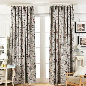 Single Panels Blackout Curtains For Bedroom Europe Style Window Treatments Newspaper Scenic Pattern Printed Curtain Living Room