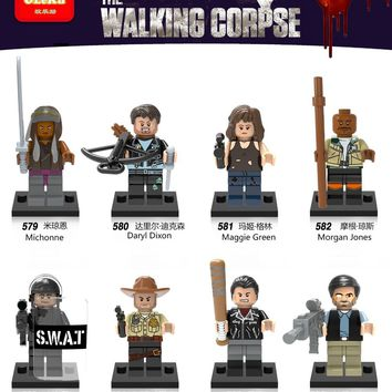 LEGOING The Walking Dead Figures zombie Michonne Daryl Dixon Maggie Green Morgan Rick Grimes Negan Bricks Building Blocks Toys