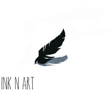 Feather Tattoo - InknArt Temporary Tattoo Set - pack tattoo quote wrist ankle body sticker anchor fake tattoo