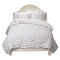 Simply Rouched Comforter Set - White
