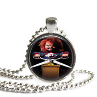 Chucky Horror Movie Silver Plated Picture Pendant Necklace