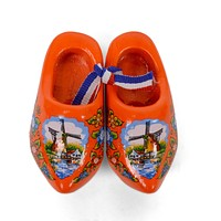 Wooden Doll Shoes Orange And Windmill  Deisgn
