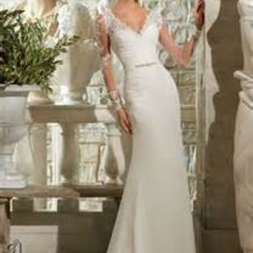 Mori Lee 5306 Venice Lace wedding gown, illusion back,  Ivory Size 10