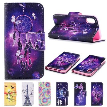 Luxury Fashion Colorful Lovely Magical Pattern Magnetic Flip Stand Mount Card Slots Wallet PU Leather Full Body Case Cover For S