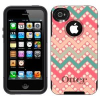 Otterbox Commuter Chevron Peach Green Red on Dots Case for Apple iPhone 4