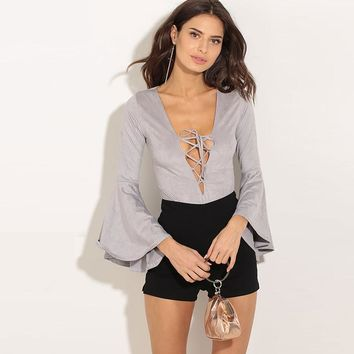 women hollow laceup long flare sleeve Deep V neck solid sexy blouse solid bodysuit autumn lady fashion top femme mujer character