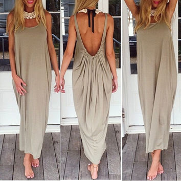 Fashion Women Backless Strapless Sexy Ladies Baggy Casual Loose Long Maxi Dress Beach Clubwear = 5657619329