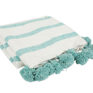 Striped Pom Pom Blanket - Seafoam