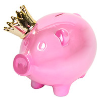 Interior Illusions Piggy with Crown Bank - Pink