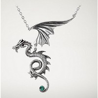 Alchemy Pewter Dragon with Green Crystal Necklace - Spencer's