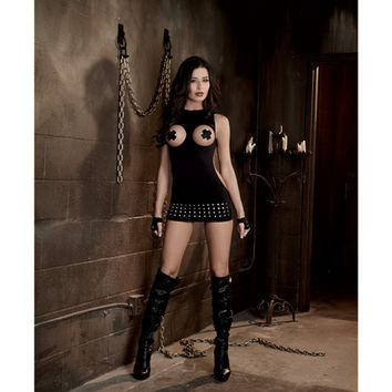 Fetish Seamless Studded Mini Dress W-open Cups & Fingerless Gloves Black O-s
