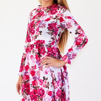 Princess Floral Midi Modest Dress