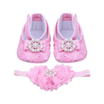 Pink Newborn Baby Girl Shoes Headband Set Toddler Baby Shoes First Walker Booties Shoe