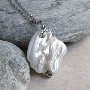 Large Baroque Pearl Necklace, Sterling Silver, Luster White Pearl Pendant, Oxidized Silver Jewerly, Gift for Mom