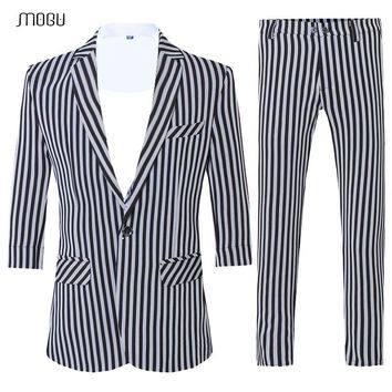 MOGU Three Quarter Sleeve Suits for Man 2018 High Quality Summer Men's Black and White Stripes Two Pieces Suits Slim Fit Terno
