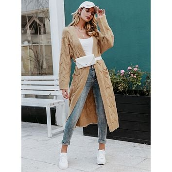 Simplee Open Front Cable Knit Longline Sweater Cardigan