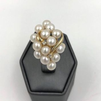 Vintage 14k Yellow Gold Akoya Pearl Cluster Diamond Ring