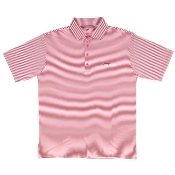 Longshank Striped Performance Polo in Crimson & White by Country Club Prep