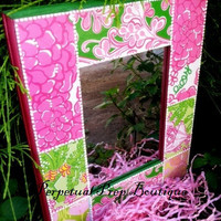 Preptastic Patchwork Inspired Lilly Pulitzer Print Mirror