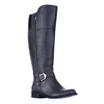 G GUESS Hailee Wide Calf Riding Boots, Dark Gray, 9 US