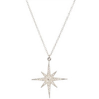 Pave Starburst Necklace in Silver