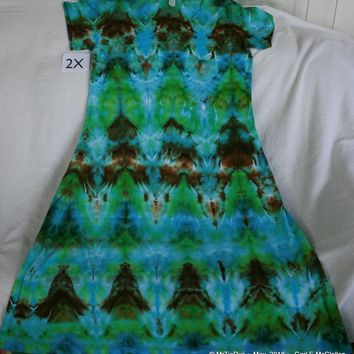Tie-Dyed 2X Mid Calf Play Dress