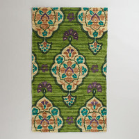 3' x 5' Green Medallion Printed Chindi Rug