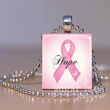 Breast Cancer Hope Necklace  Pink Ribbon  by SugarLaneShoppe