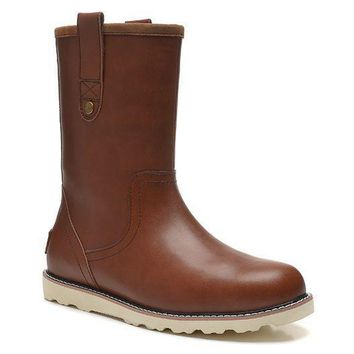 ESBON UGG 3247 Tall Leather Men Fashion Casual Wool Winter Snow Boots Chocolate
