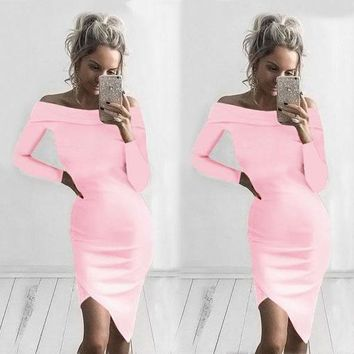 Long Sleeves Off Shoulder Knee-length Irregular Dress