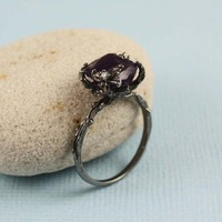 Black Rough Amethyst Ring | tooriginal - Jewelry on ArtFire