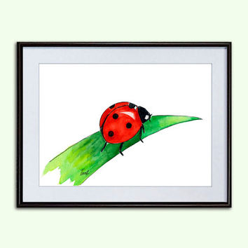 Ladybug Nursery art posters watercolor paintings wall decor ideas digital art painting for kids