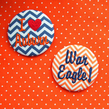 Auburn Tigers, War Eagle, Iron Bowl Embroidered Team Spirit Button/Pin