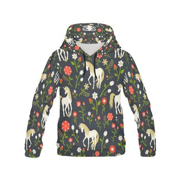 floral pattern with magic unicorns All Over Print Hoodie for Women (USA Size) (Model H13)
