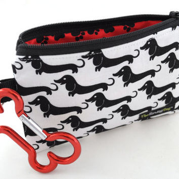 Dog Clean-Up Pouch - 'Dachshund Parade - Black + White' - With Clip to Attach to Your Leash & Free Earth Friendly Poop Bags