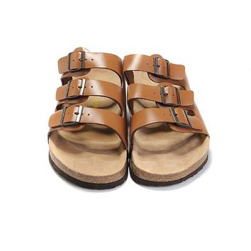 2017 new style birkenstock summer fashion leather cork flats beach lovers slippers casual sandals for women men couples slippers size 36 45-2