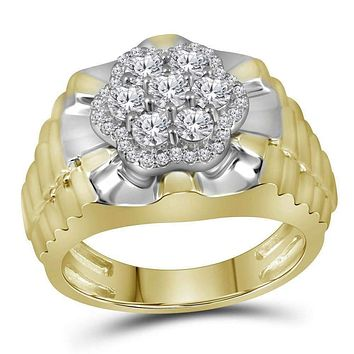 10kt Two-tone Yellow White Gold Men's Round Diamond Flower Cluster Ribbed Ring 1.00 Cttw - FREE Shipping (US/CAN)