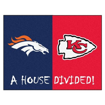 Denver Broncos-Kansas City Chiefs NFL House Divided NFL All-Star Floor Mat (34x45)