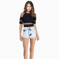 Mesh Sleeve with Cut-out Cropped Top