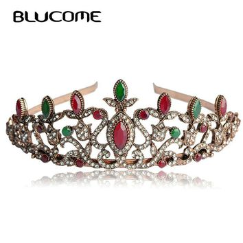 Blucome Turkish Wedding Hair Accessories Tiaras For Bridal Arcylic Red Crystals Vintage Flower Floral Head Piece Crown Hairwear