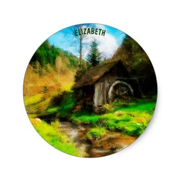Retro Old Mill In Mountain Valley On Small River Classic Round Sticker