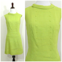 60s mod vintage green dress / Drop waist / Double brested / St Patricks day outfit / Audrey Hepburn style / sleeveless