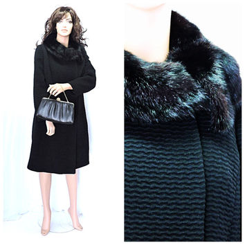 Vintage long wool coat size M, 1960s lambs wool coat mink collar, minimalist 60s black wool coat, USA made winter wool coat SunnyBohoVintage