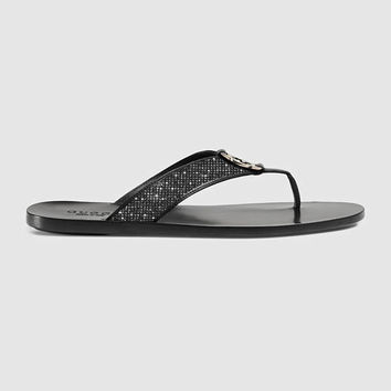 Gucci Leather thong sandal, Swarovski Gucci slides, Gucci Gang, Gucci Glam, Fashionable Glam Slides, Gucci Men