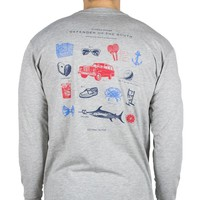 Defender of the South Long Sleeve Tee in Grey by Southern Proper