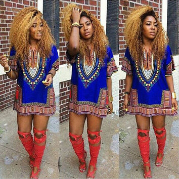 Women African Festival Dashiki Shirt Kaftan Boho Hippe Gypsy Festival Tops Party Dress LY3 SM6