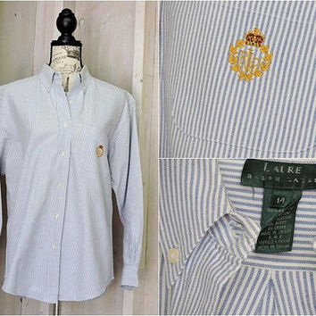 Ralph Lauren oxford shirt / size M / L / 12 / 14 / vintage 80s /  white / blue striped / button down / cotton /  boyfriend shirt